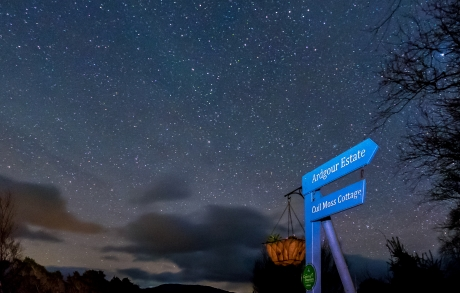 Stars above the entrance to Cuil Moss Cottage