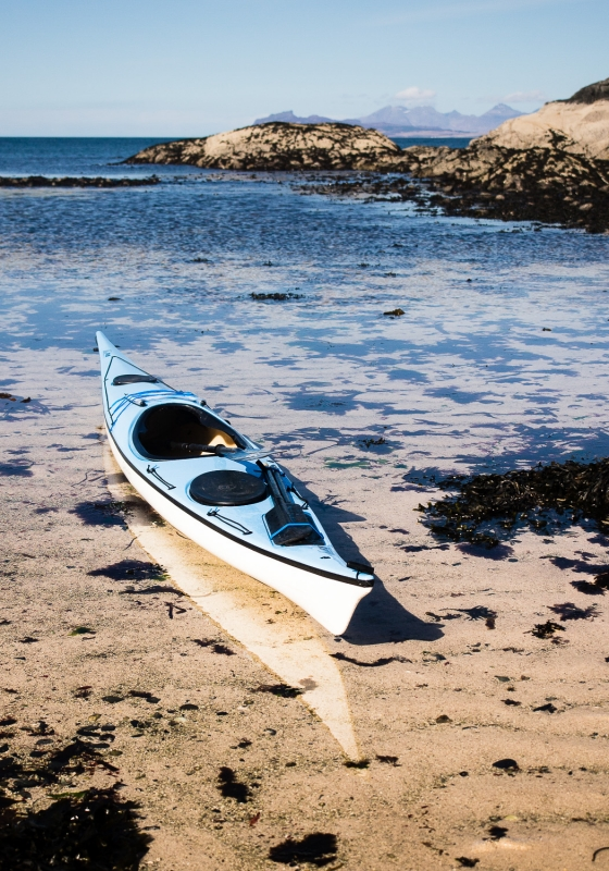 Sea kayak on a beach on Loch Linnhe, Ardgour